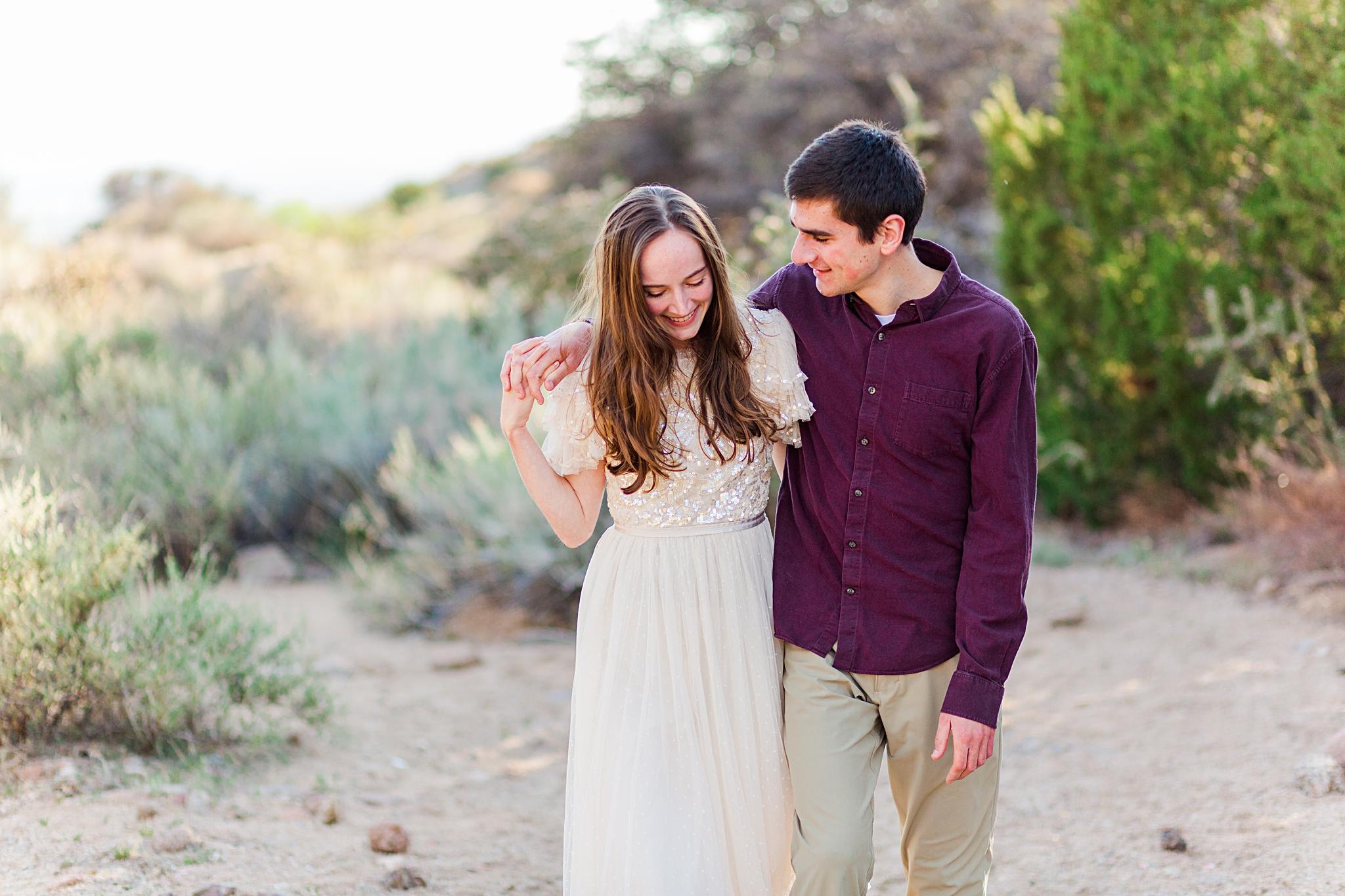 classic desert engagement session
